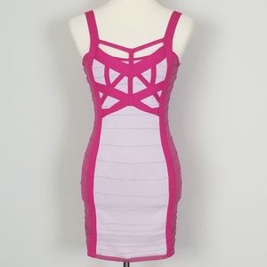 Wow Couture Pink Lavender Straps Bandage Dress M